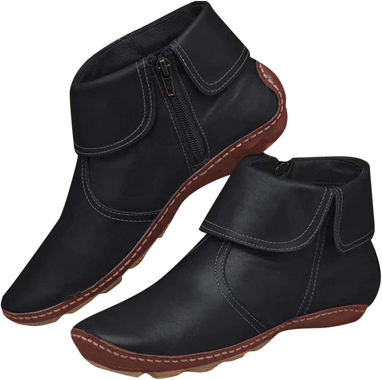 DEARWEN Women/'s Flat Ankle Boots Women Low Heel Walking Shoes Women Hiking Boots Women Lace Up Booties