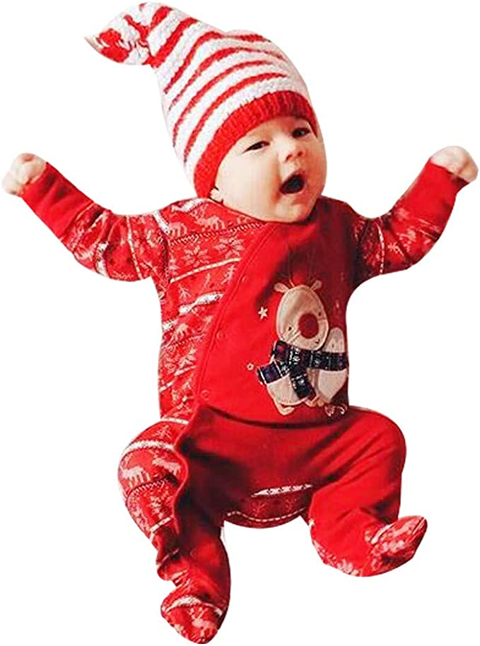 Hailouhai Neugeborenes Baby M/ädchen Langarm Meine Ersten Weihnachten Outfits Strampler Pants Hut Outfit Sets Bow Stirnband