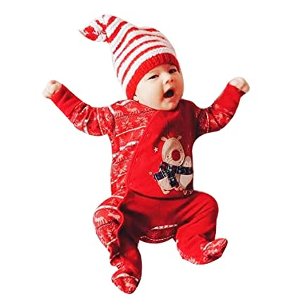 d7736150e Amazon.com  Franterd Baby Red Christmas Deer Romper Newborn Infant ...