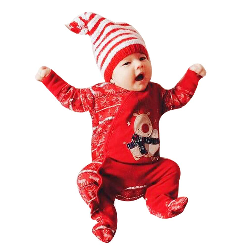 8c84bee0222e Amazon.com: Christmas Deals!Newborn Infant Baby Xmas Jumpsuit -Long Sleeve  Deer Printing Romper Outfits Clothes: Clothing