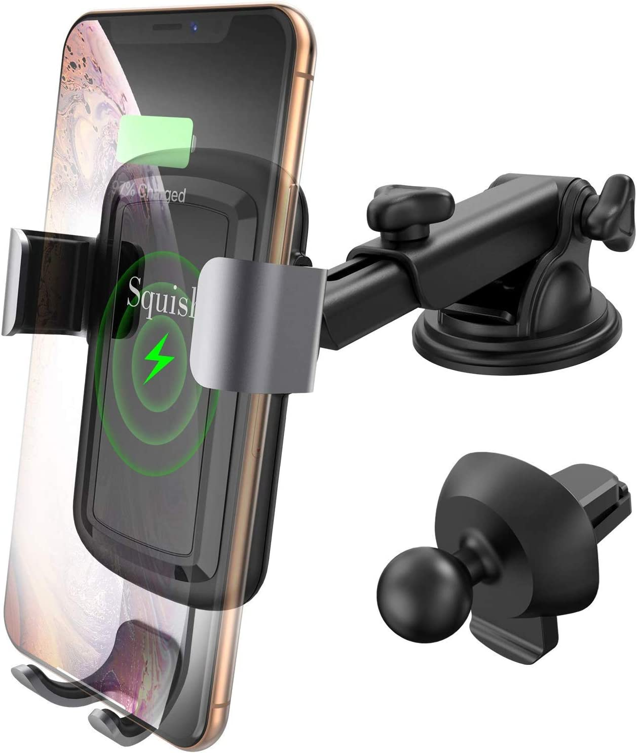 Qi Fast Charing Car Charger Mount Automatic Gravity Car Phone Holder for Dashboard Windshield Air Vent iPhone X XRr XS Max Samsung S10//S9//S9+//S8//S8+//S7//Note10//9//Note8 etc Squish Wireless Car Charger