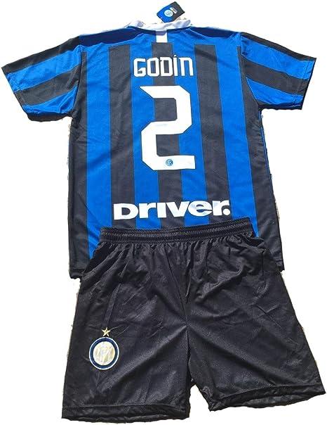 Completo Godin Inter Prodotto Ufficiale F.C Internazionale 2019//2020 Bambino Uomo Maglia Pantaloncini Pantaloncino Home 2 Diego Godin