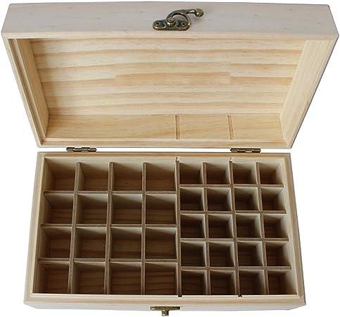 Esenciales Cajas de almacenamiento de petróleo Aceite esencial Organizador Caja de almacenamiento de madera con 36 ranuras for mantener su Aceites Aceite esencial de seguridad caja de madera: Amazon.es: Hogar