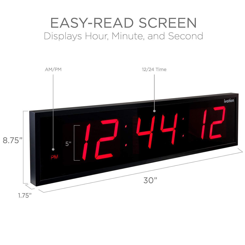 Ivation Huge Large Big Oversized Digital LED Clock - Shelf or Wall Mount (30 Inch - Red) by Ivation (Image #3)