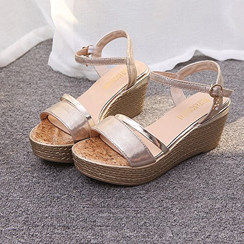 Hunpta Sommer Muffin Fisch Kopf Frauen Sandalen Platform Sandalen Einfache Schuhe Shook Gold