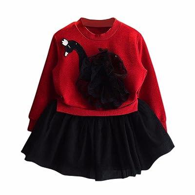 Anshinto Kids Child Girls Lace Yarn Black Swan Dress Long Sleeve Princess Dress