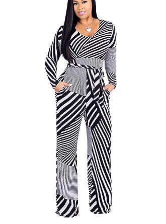 22cb32df1721 Mycherish Women s Sexy V Neck Africa Dashiki Striped Print Tie Front Wide  Leg Long Pants Set