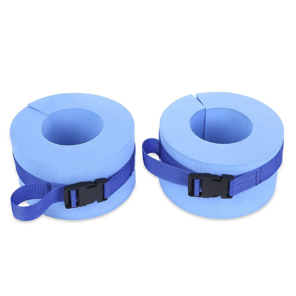 RUNACC Foam Swim Aquatic Cuffs Hydrotherapy Ankle Cuff Swimming Weights with Quick Release Buckle, Set of 2, Blue