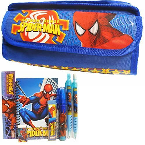 (Spiderman Blue Double Zipper Pencil Case with Stationery Set)