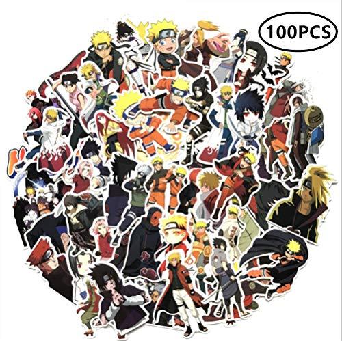ZIYAN 100Pcs Naruto Laptop Stickers Anime Waterproof Stickers for Skateboard, Luggage,Helmet,Guitar