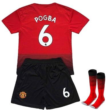 ca571a3e9 Pogba #6 Soccer Jersey 2018-2019 Manchester United Home Kids Soccer Jersey  & Shorts