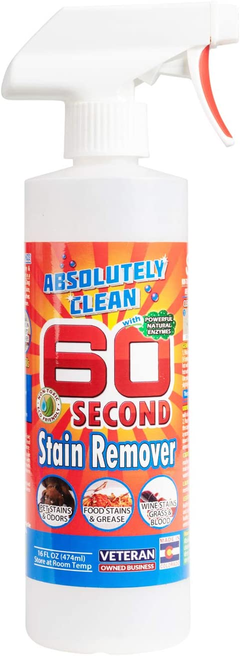 Amazing 60 Second Stain Remover - Commercial Strength - Powerful, Natural Enzymes Remove Food, Grease, Pet Stains & More - Non-Toxic/Eco Friendly - USA Made (16oz Spray Bottle)