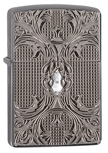 Zippo Armor Crystal Lattice Pocket Lighter, Black Ice