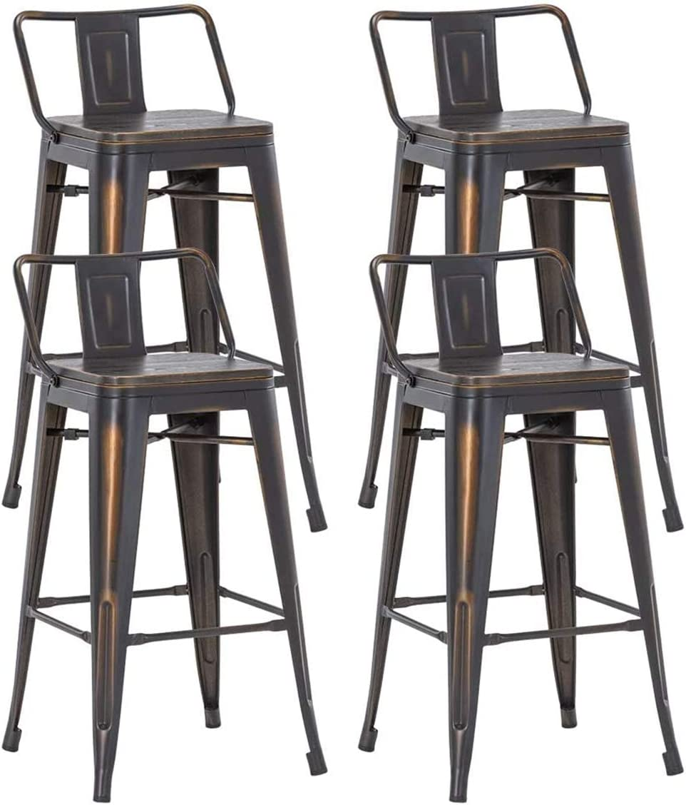 Alunaune 30Inch Metal Bar Stools Set of 4 Counter Height Bar Stools with Back Industrial Kitchen Stools with Wooden Seat Low Back,Distressed Gold Black