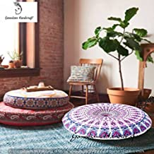 Ganesham Handicrafts- Mandala Tapestry Decorative Designer Boho Pillow, Round Seating Pouf Ottoman, Mandala Floor Pillow, Meditation Pillow Cover, Handmade Pillow Insert, Round Mandala Pillow Throw,