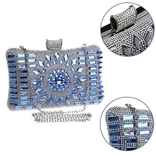 Wedding Chain Evening Diamante Blue Bags Prom Wallet Bag Dress Womens Clutches Ladies Purse 10pFwZvwq