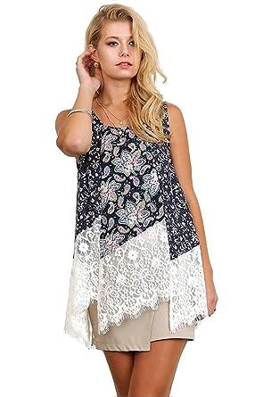 ac171c7821e Umgee Women s Sleeveless Print Lace Keyhole Top Blouse (Medium