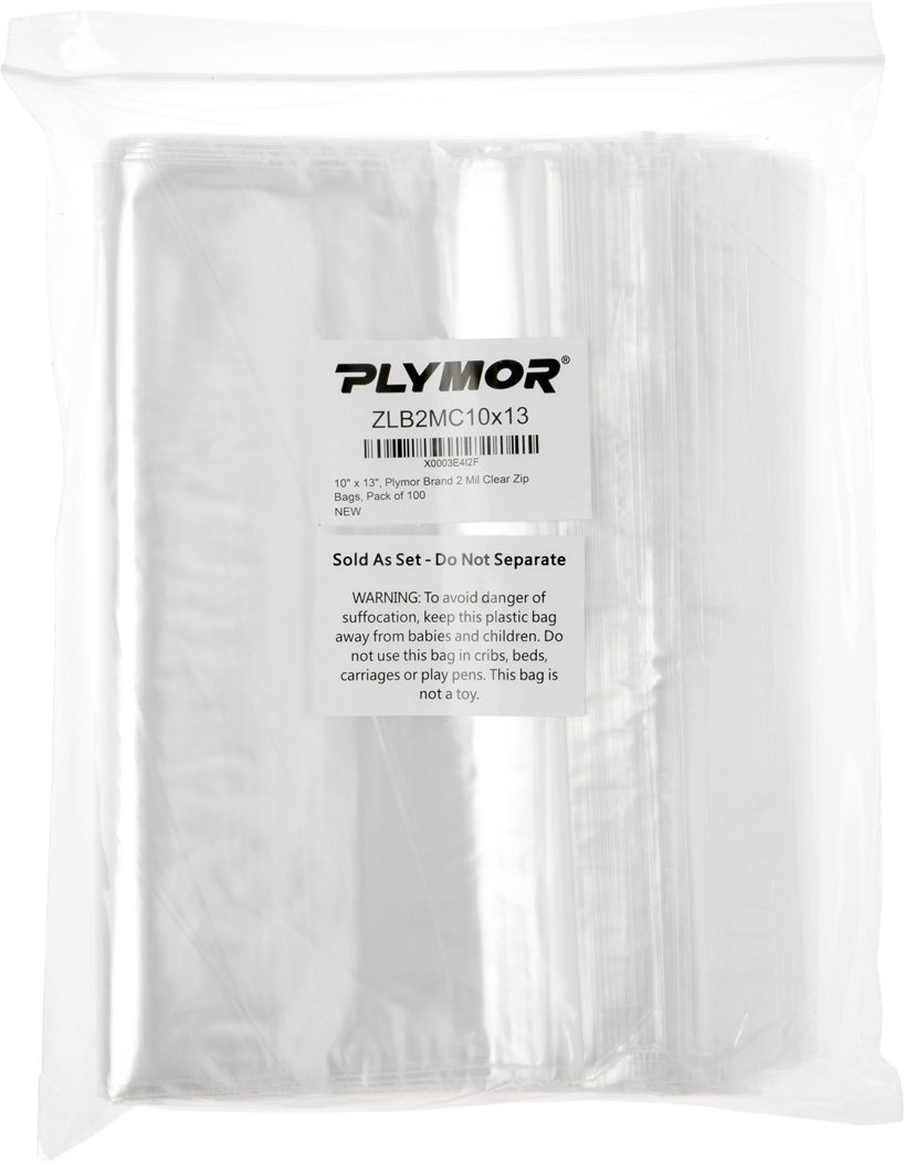 10'' x 13'', 2 Mil Clear Plymor Brand Zipper Reclosable Storage Bags, Pack of 100