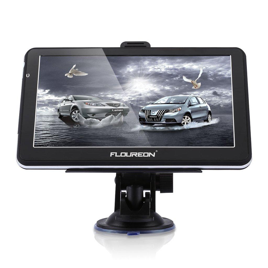 FLOUREON GPS de Coches Navegador para Camiones y Coches, LCD Pantalla Táctil, Sat Nav navegación Gratis de Mapa de EU,...