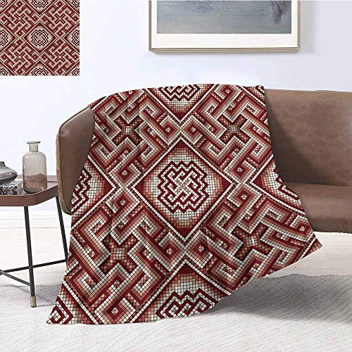 DILITECK Home Throw Blanket Geometric Mosaic Greek Ornament Print Digital Printing Blanket W60 xL91 Traveling,Hiking,Camping,Full Queen,TV,Cabin -
