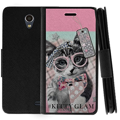 TurtleArmor | ZTE Prestige 2 Case | ZTE Maven 3 Case | ZTE Overture 3 Case | Flip Kickstand Wallet Case Leather Cover with Card Slots Holder Girl Designs - Hipster Cat