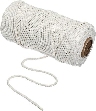 Cordón de algodón natural, hilo de macramé, hilo de macrame para manualidades, manualidades, para colgar en la pared, para colgar, para tejer, beige, 100M-3mm: Amazon.es: Hogar
