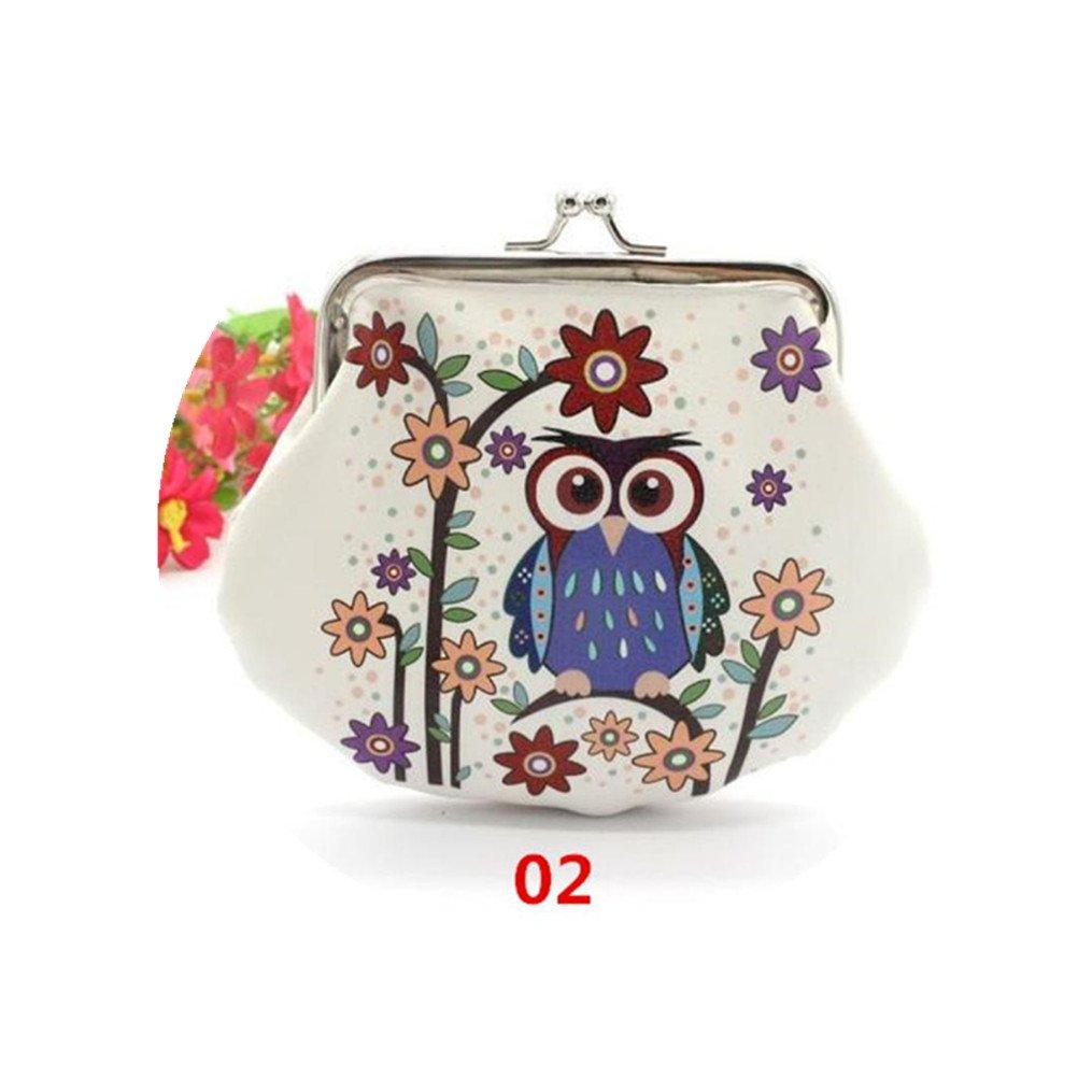 HP95(TM) Women Lady Girls Owl Small Wallet Vintage Hasp Purse Clutch Bag (B)