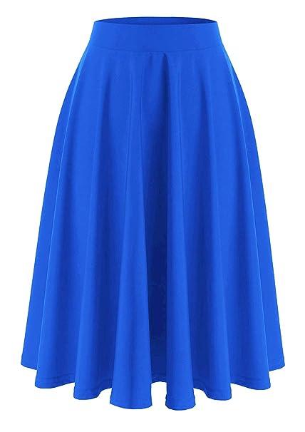 Emma   Giovanni - Midi Corto Elástica Plisada Básica Falda - Mujer (Azul  Eléctrico 538f00bf0359