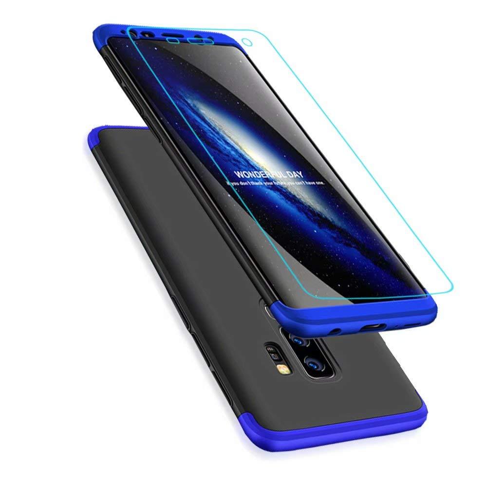 Coque Samsung Galaxy S9+/S9 Plus + Protecteur D'écran, Lanpangzi Étui 3 en 1 Hard PC Housse Protection à 360 degrés Anti-Rayures Case Anti-Choc Cover avec Film Screen Protector Glass, Bleu et Noir Samsung Galaxy S9 Plus