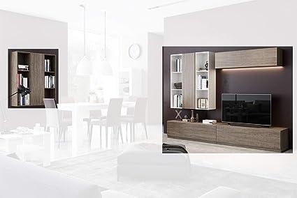 Composition Meuble Tv Max009 Blanc Laque Et Orme Sombre