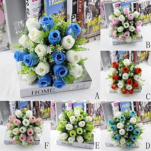 YJYdada-18Head-Artificial-Silk-Roses-Flowers-Bridal-Bouquet-Rose-Home-Wedding-Decor-A