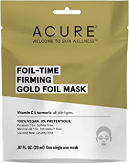 product image for Acure Foil-Time Firming Gold Mask | 100% Vegan | Traps Heat to open Pores for Superior Serum Delivery | Vitamin C & Turmeric - for firm, Glowing & Refreshed Appearance | All Skin Types | 12Count