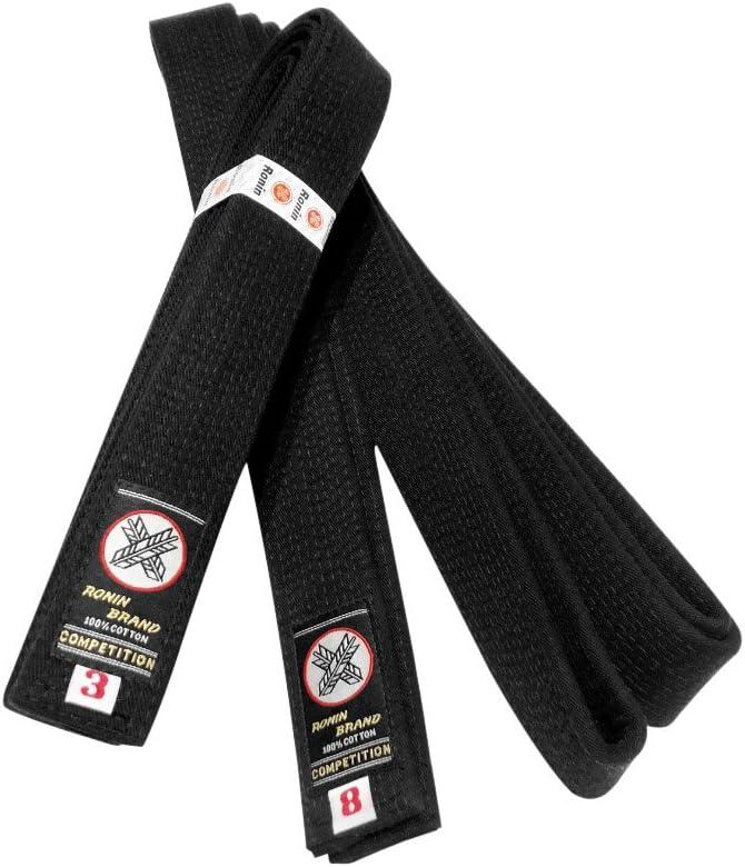 Ronin Deluxe Cotton Black Belt for Karate, Judo, Tae Kwon Do, Aikido, Jujitsu Martial Arts