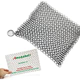 "Amagabeli 8""x6"" Stainless Steel Cast Iron Cleaner 316L Chainmail Scrubber for Cast Iron Pan Pre-Seasoned Pan Dutch Ovens Waffle Iron Pans Scraper Cast Iron Grill Scraper Skillet Scraper"