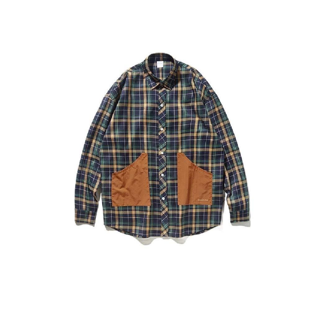 Doufine Mens Loose Fit Vintage Contrast Long-Sleeve Plaid Woven Shirt