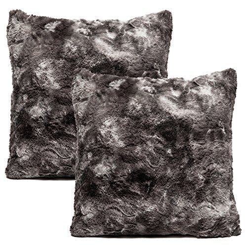 Chanasya Super Soft Fuzzy Faux Fur Cozy Warm Fluffy Dark Gray Fur Throw Pillow Cover Pillow Sham -Charcoal Gray Pillow Sham 18x18 Inches(Pillow Insert Not Included) Waivy Fur Pattern 2-Pack (Faux Fur Euro Sham)