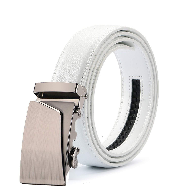 New Mens Fashion Automatic Buckle Leather Luxury Man cinturones hombre Black white Belt Alloy buckle White belt for Men,15,125cm