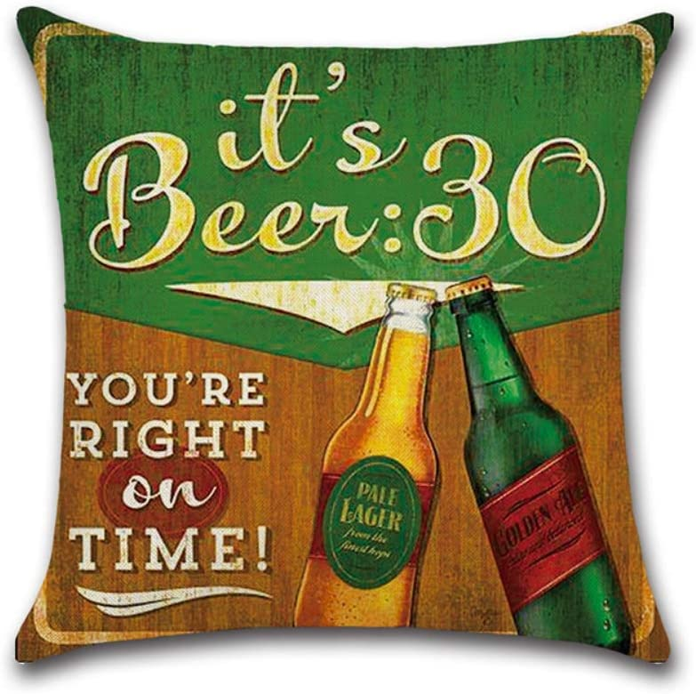 Hankyky Home Car Retro Vintage Beer Bottle Pillowcase Decoration Breathable Linen Cushion Cover for Home Sofa Car Bedding Decoration 18x18// 45cm x 45cm