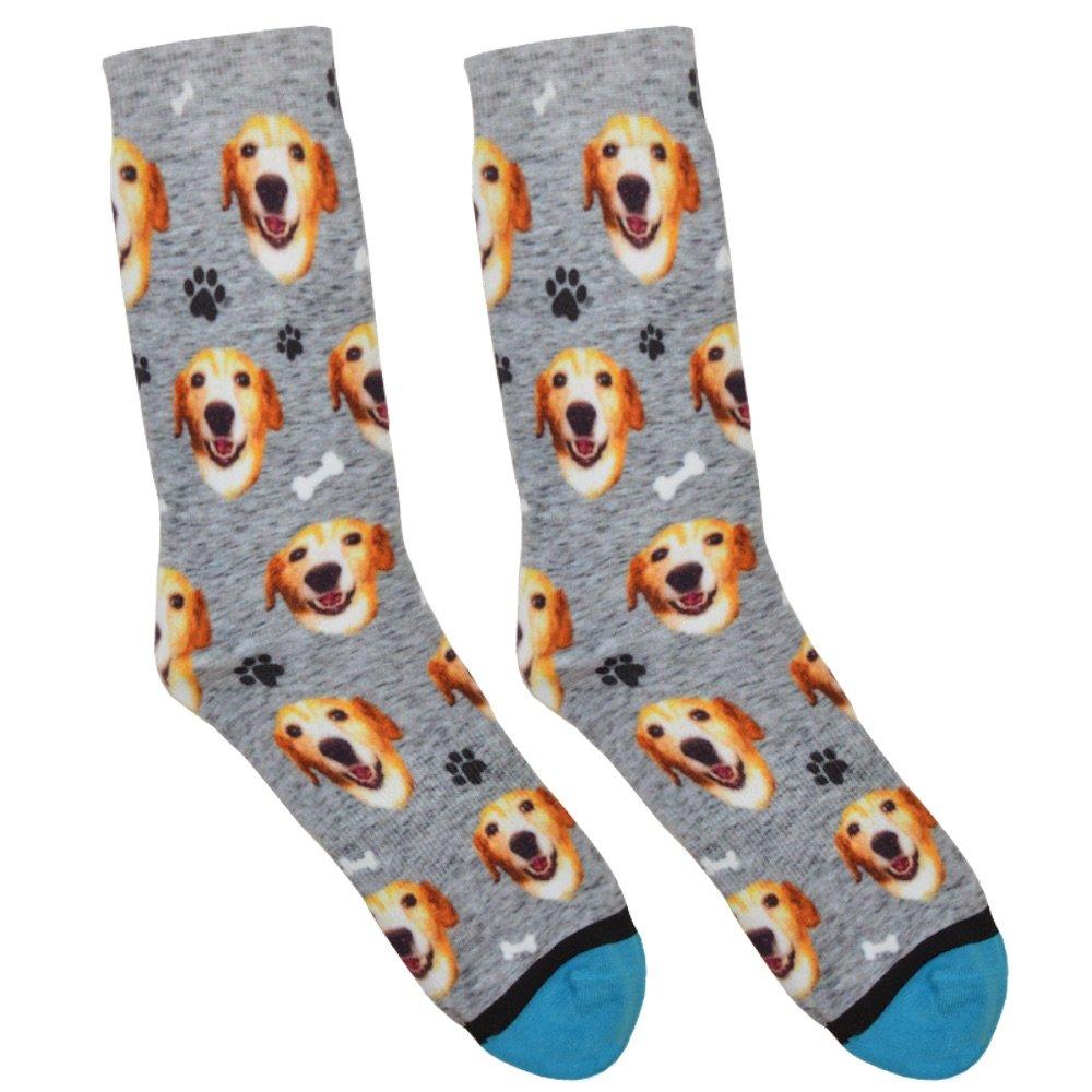 Custom Dog Socks - Put Your Dog on Socks! (Large, Heather Gray) by DivvyUp