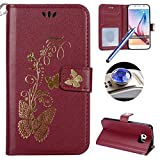 Galaxy S6 Wallet Case,Samsung Galaxy S6 Flip Case,Etsue Luxury Gold Butterfly Pattern Pu Leather Strap Wallet Case Cover with Stand and Card Holder for Samsung Galaxy S6+Blue Stylus Pen+Bling Glitter Diamond Dust Plug(Colors Random)-Butterfly,Wine Red