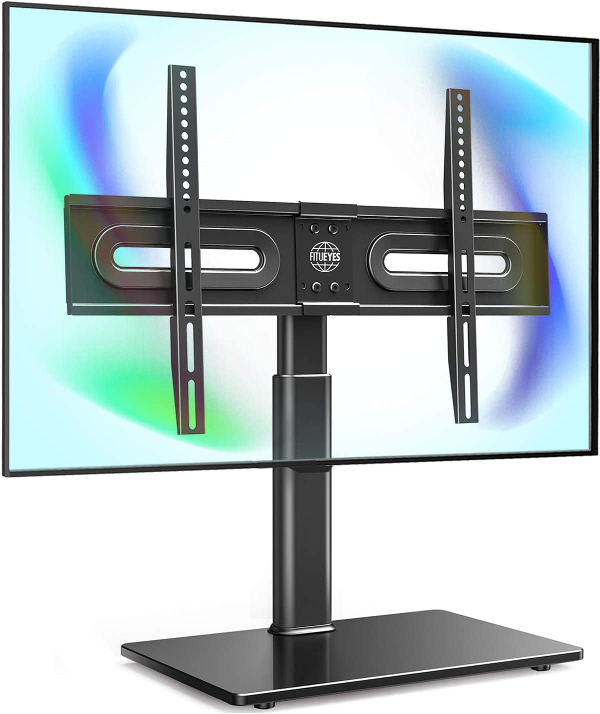 Fitueyes Universal Tv Stand Base Tabletop Tv Stand With Swivel Mount For 32 To 65 Inch Flat Screen Tv Height Adjustable Tempered Glass Base Tt105202gb Furniture Decor Amazon Com
