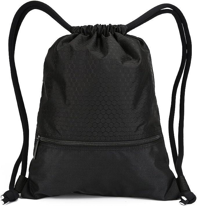 Amazon.com: Mochila doble resistente con cordón y bolsillos ...