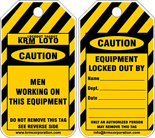 KRM LOTO CAUTION - MEN WORKING AT THIS EQUIPMENT (Set of 50 pcs)