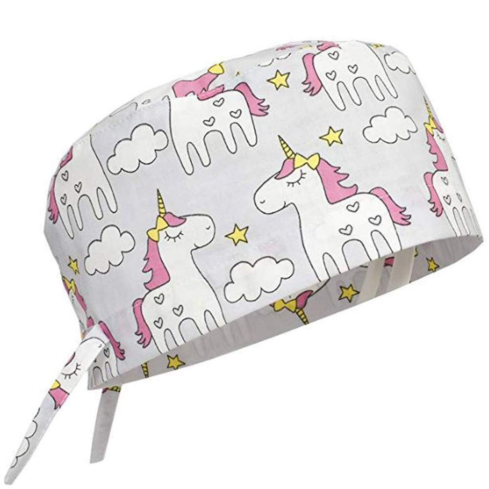 Scrub Cap Surgical Hat Unisex Animal Print Medical Uniform Unicorn (Grey) by KATE BIANCO
