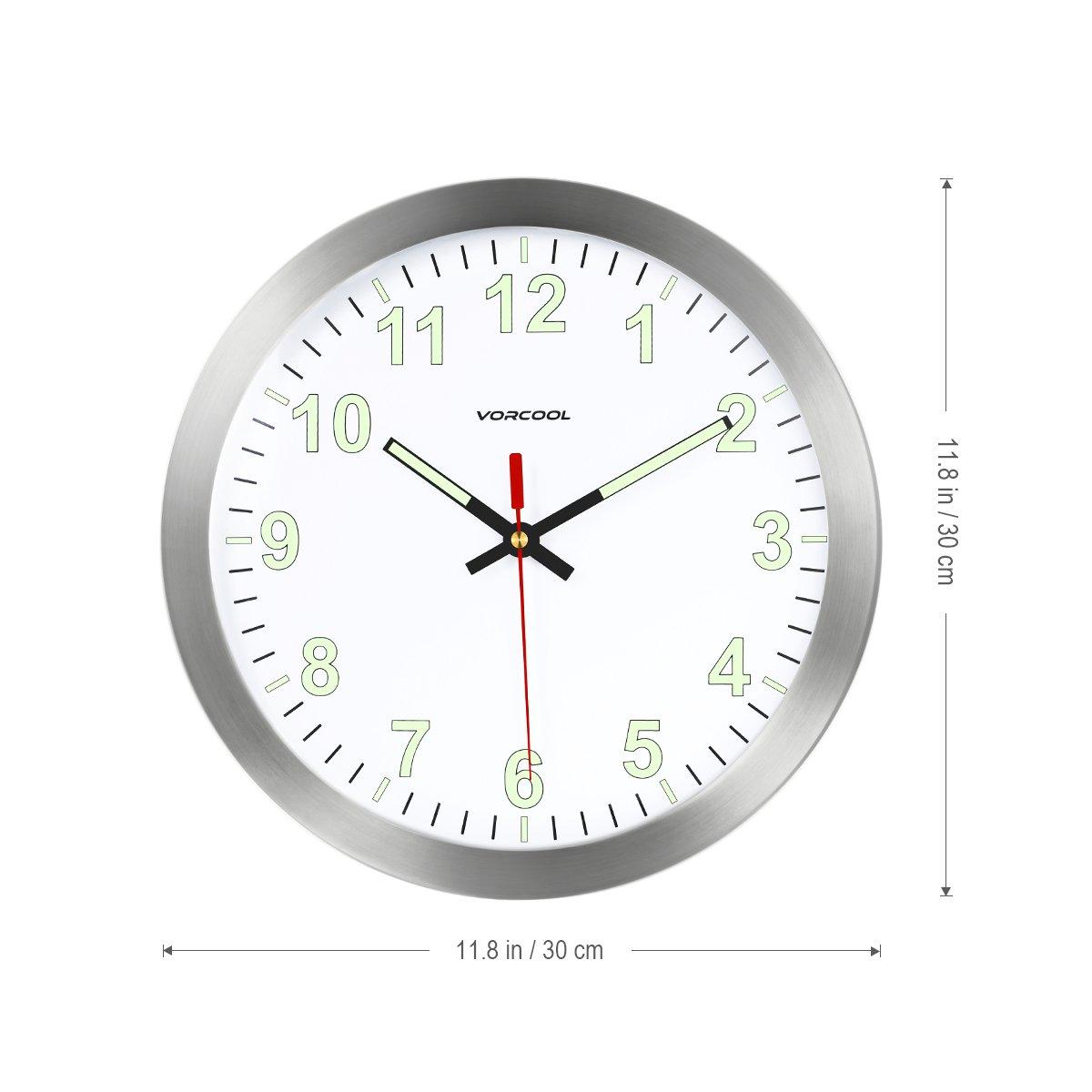 VORCOOL Relojes de Pared Luminoso Silencioso Cuarzo Redondo Hogar Cocina Decoraciones 12 pulgadas (Plata): Amazon.es: Hogar
