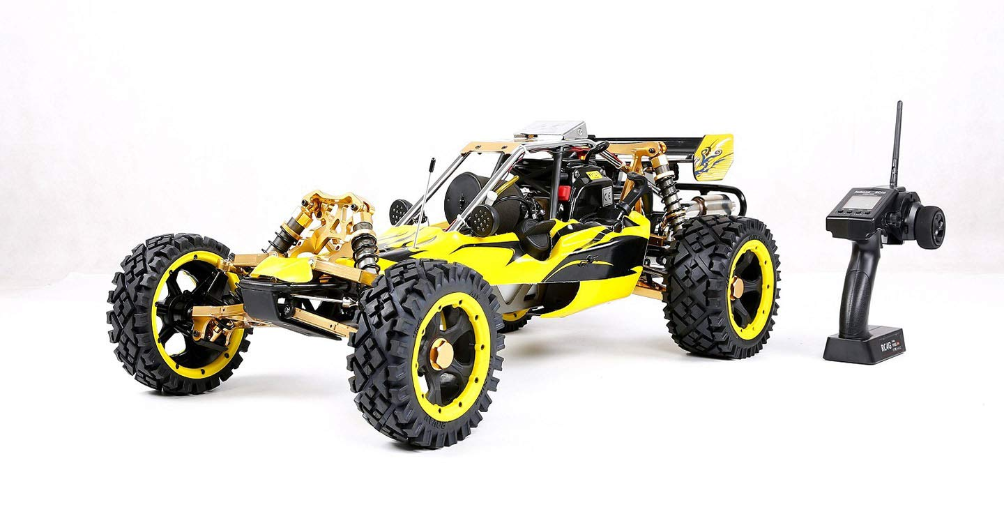 Yellow MZL Remote Car 1 5 high with adult fuel remote control car model Rock Crawler double row silencer exhaust pipe   45cc single cylinder four fixed gasoline engine (LxWxH  817x480x255mm)