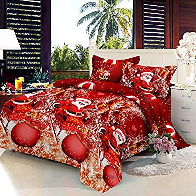 Anself 4PCS Christmas Bedding Sets, Bed Sheet + Quilt Cover + Pillow case