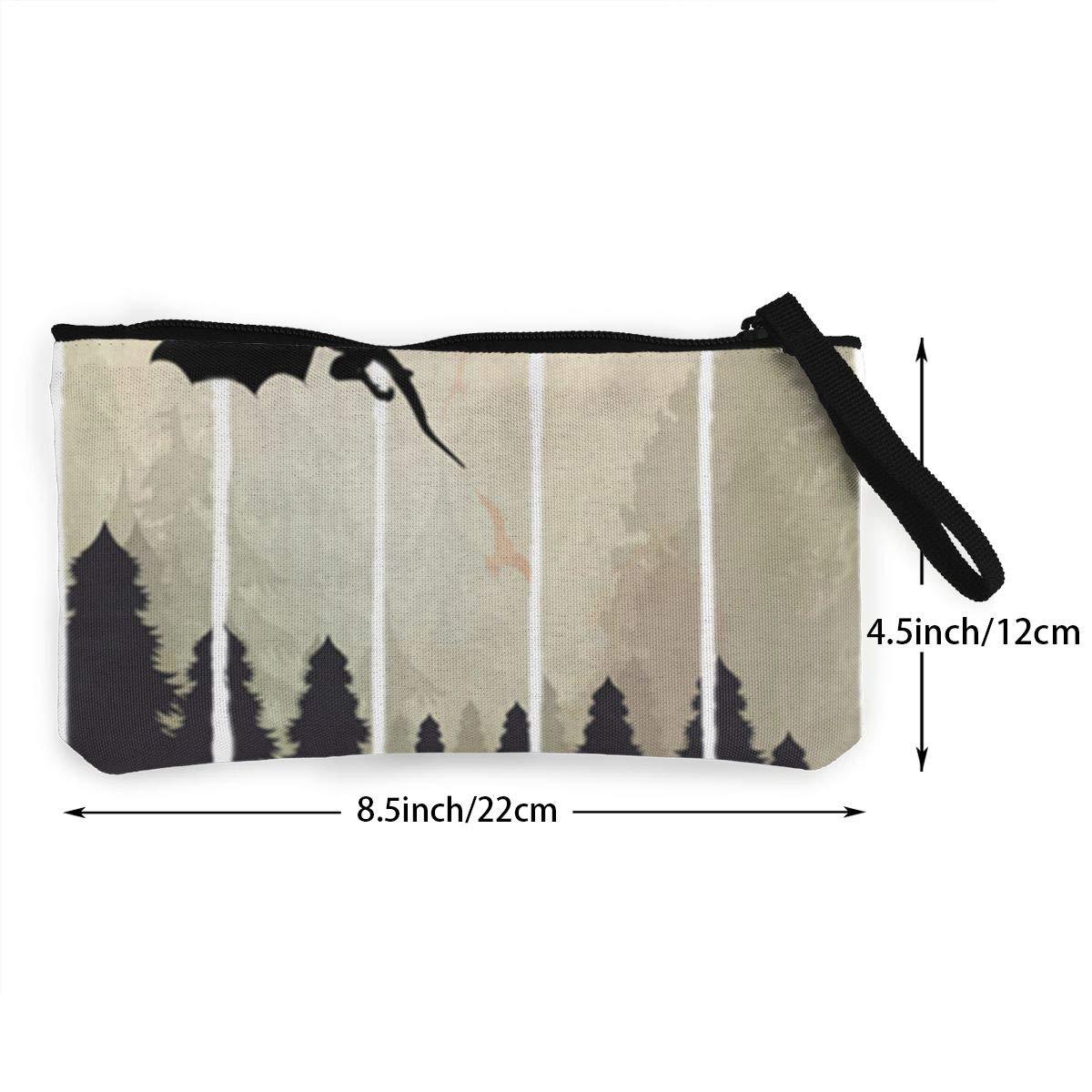 Make Up Bag TR7FD15DE Fencing Zipper Coin Purse Canvas Change Wallet Canvas Cash Coin Purse Cellphone Bag With Handle