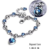 MISSUSO 12 constellations of the zodiac Bracelet Navy Blue Birthday gift 17cm+5cm extended gift-wrapped