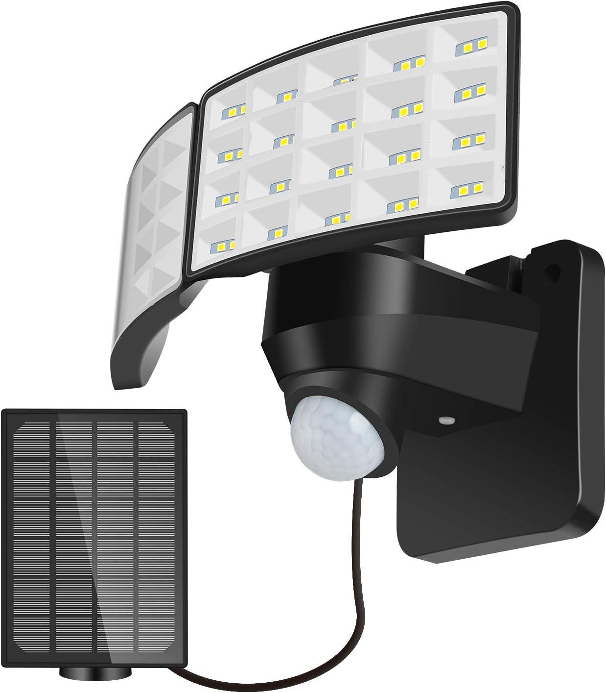 LUOWAN Luz de Seguridad Solar al Aire Libre Luz de Sensor de Movimiento Solar LED 1600LM con 2 Cabezales Ajustables, 5500K, IP65 a Prueba de Agua Proyector para PatioTrasero, Camino & Patio